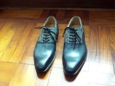 #custom #handpainted #patina #shoe #tweed #fabric #gray #oxford