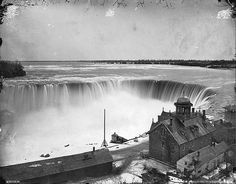 """""""Horseshoe Falls from above, Niagara, ON, 1869"""" Photo by William Notman"""