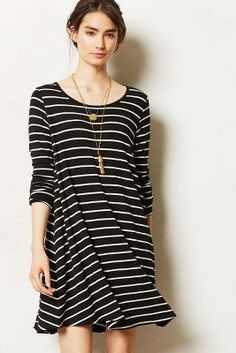 Stripe Swing Dress with elbow patches