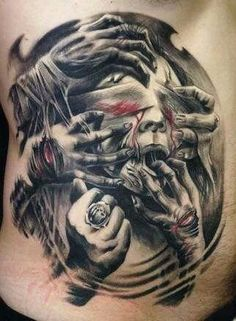 I want a chest tattoo spanning my chest which incorporates angels and demons with wings spanning the shoulders good and evil.