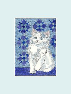 Little White Cat  Kitty and the Blue Quilt New by THEODORADESIGNS, $7.00