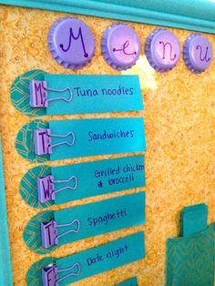 craft, organ, colors, weekly menu, menu boards, binder clips, menu planners, diy, gift idea