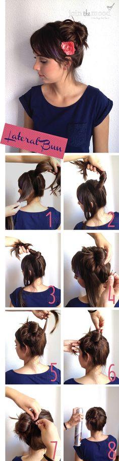 diy hairstyles, beauty tutorials, bun hairstyles, hair tutorials, hairstyle tutorials, beauti, hair style, side bun, hair buns