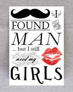 6 PIECE SET Bridesmaid Card, Will You Be My Bridesmaid, I Found My Man But I Still Need My Girls, Bridal Card, Mustache and Lips Bridal. $18.95, via Etsy.