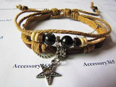 Men or Women Soft Leather Bracelet with Bead by braceletcool, $6.50