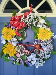 Perked my Valerie Parr Hill wreath. Ready for Summer !