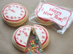 New Years Confetti Clock Cookies with edible sprinkles inside that come out when you cut or break them. Another pinner suggested using them at a gender reveal baby shower with the sprinkles inside being either blue or pink!  :)