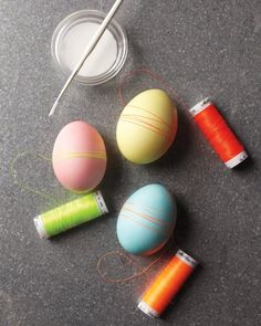 Add a few loops of neon thread to dyed Easter eggs for a crafty, homespun look.
