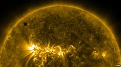 Venus passing in front of the sun as viewed by Nasa's Solar Dynamics Observatory.