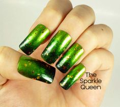 The Sparkle Queen: Shades of Green – Get Lucky Nail Art Challenge Day 1