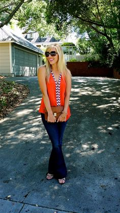 orange and flared jeans