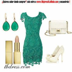 Vestido verde de encaje