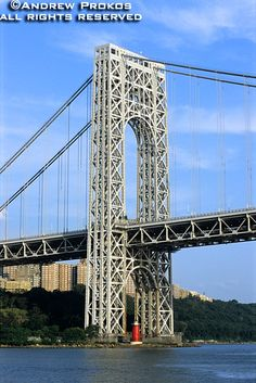 A view of the George Washington Bridge from the Hudson River, New York City.