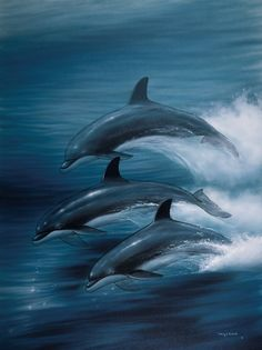 Dolphin Trio by Wyland - Dolphins in the Ocean