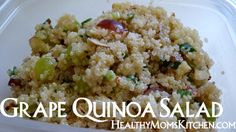 This delicious Grape & Quinoa Salad will make any picnic at the park with the kids feel like a sophisticated adventure.  All the fiber and protein you need in a meal. #recipe #quinoa #healthy HealthyMomsKitchen.com