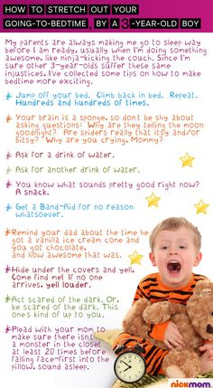 How To Stretch Out Your Going-to-Bedtime, By A 3-Year-Old Boy | More LOLs & Funny Stuff for Moms | NickMom