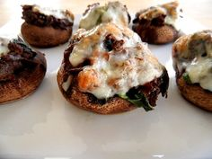 Meat and Spinach-Stuffed Mushrooms with Goat Cheese
