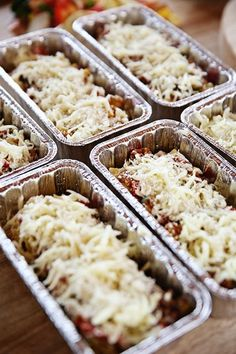 Delicious Lasagna Rollups! I like to freeze four rolls at a time in foil loaf pans. Serve one roll or four, depending on appetites!
