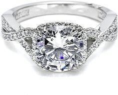 "Tacori Engagement Ring with Pave-Set Diamonds: From Tacori's ""Dantela"" Collection"