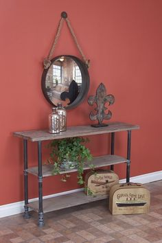 Wood & Metal Console - Brown
