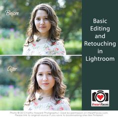 Before and after Lightroom retouching tutorial.