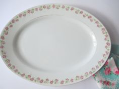 Shabby Antique Jaeger German Pink Green Rose Serving by jenscloset, $17.50