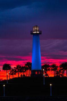 Light House In The Firey Sky - Long Beach - California - USA