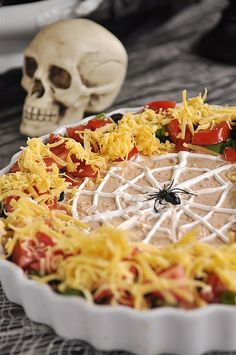 Spider Web Mexican Layer Dip  @yourhomebasedmom.com  #appetizers,#recipes
