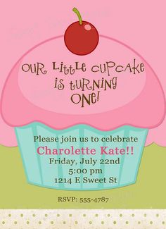 Custom Printable Cupcake Birthday Invitation by SweetBeeDesignShoppe on Etsy