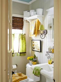 This half bathroom is full on charm with this fun and personal color scheme: http://www.bhg.com/bathroom/color-schemes/colors/bathroom-color-schemes/?socsrc=bhgpin012914halfbath&page=20