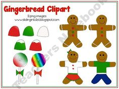Gingerbread Friends-11 colorful png images!