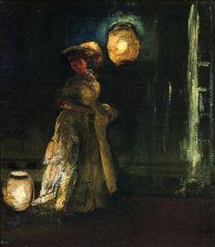 """Girl with Japanese Lantern"" by Everett Shinn"