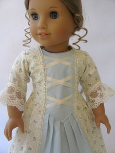 American Girl Doll Clothes Blue and Cream Colonial by MyAngieGirl
