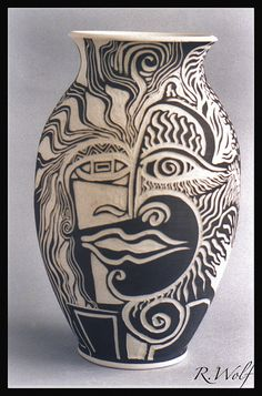 Rachel Wolf,  Sgraffito Vase Face, via Flickr.