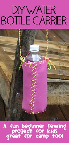 DIY WATER BOTTLE HOLDER - Great for a camp craft, scouts, sports, or just all around fun. A great beginner sewing project too!  From Crafts ...