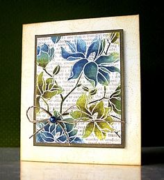 Card with Distress Inked flowers by Jill Foster
