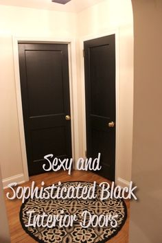 Sexy and Sophisticated Black Interior Doors using Valspar Lincoln Cottage Black #valspar #blackinteriordoors #homedesign #thecosmeticallychallengedhome