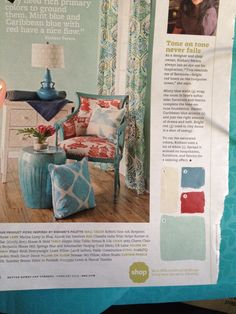 Teal and red in living room