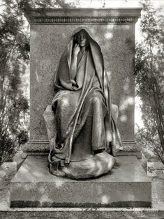"Washington, D.C., circa 1915. ""Grief monument, Rock Creek cemetery."" The timeless memorial by Augustus Saint-Gaudens.  Sadly appropriate to mark the murders of 20 children on 12/14/12."