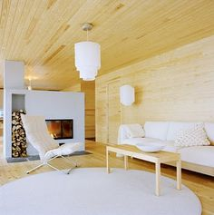 Love the rhythm of this room with the slot for wood storage!