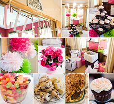 Bridal shower with flowers and cupcakes