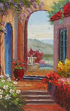 ORIGINAL Oil Painitng ART The Path to the Garden 23 x 36 Palette Knife Big Italian Art Textured Arch Flowers Colorful by Marchella
