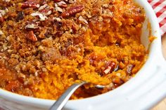 Sweet Potato Casserole...from Closet Cooking....Mashed sweet potatoes covered covered in a pecan crumble is another classic Thanksgiving side dish that you cannot go wrong with!