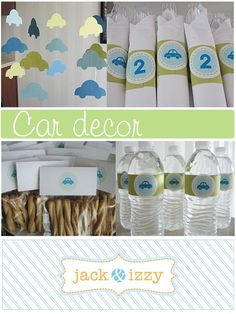 Although these are for a young child's party...I love the labels for the favors and water bottles!