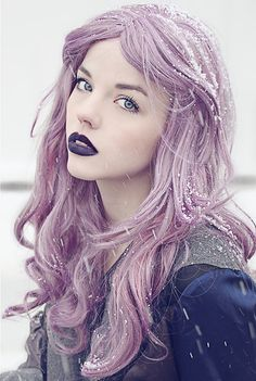 lilac hair and plum lips