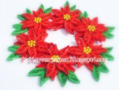 poinsettia wreath, quill wreath, christma poinsettia