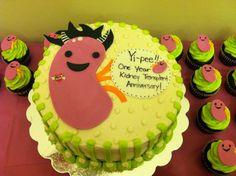 One year kidney transplant anniversary rock-n-roll kidney cake! www.littledevilcupcakery.com
