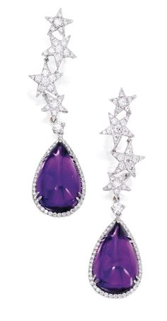 PAIR OF 18 KARAT WHITE GOLD, AMETHYST AND DIAMOND PENDANT-EARRINGS, MARGHERITA BURGENER Set with two pear-shaped cabochon amethysts weighing 34.48 carats suspended by a column of cascading stars, set with round diamonds weighing 2.45 carats, signed Margherita Burgener; pendants detachable.