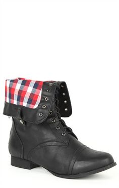 Deb Shops Wide Width Fold Over #Combat #Boot with #Plaid Cuff and Round Toe  $32.13