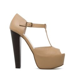 Love these Tan T-Strap Heels from ShoeDazzle